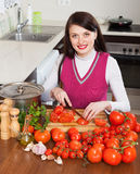 Happy brunette woman slicing tomatoes Stock Photography
