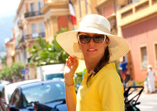 Happy brunette woman on vacation Stock Photo