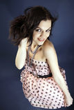 Happy brunette woman, vertical shot Stock Images