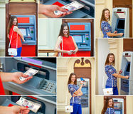 Happy brunette woman withdrawing money from credit card at ATM Stock Photos