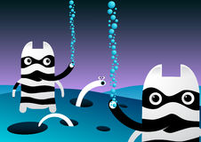 Happy Bubbles. Under the waters you may find these strange bubble blowers stock illustration