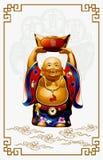 Happy Buddha Carrying Gold Money stock illustration