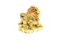 Happy Buddha - Chinese God of Happiness sit on dragon and tortoise shell on white background. royalty free stock images