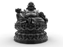Happy Buddha with offering hand. 3D render illustration of a Happy Buddha statue with offering hand. The composition is isolated on a white background with vector illustration