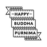 Happy Buddha Purnima day greeting emblem. Happy Buddha Purnima emblem isolated vector illustration on white background. 10 may world buddhistic holiday event Stock Photography