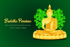 Happy buddha purnima monk phra buddha pray concentration composed release front of pho leaf religion culture faith  stock illustration