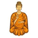 Happy Buddha sitting in Lotus pose, teaching Buddhism.  Royalty Free Stock Photo