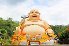 Happy Buddha Statue At Guan Yin Temple, Hatyai Municipal Park, Hatyai, Thailand. Hatyai Municipal Park is a local park located in the southern city of Hatyai in Stock Photography