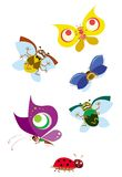 Happy bugs. Cartoon of funny flying bugs and butterflies Stock Photos
