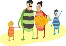Happy bugs family Stock Photo