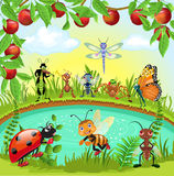 Happy bugs world. Vector illustration of happy bugs living in harmony with each other in a natural background Royalty Free Stock Photo