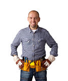 Happy builder. Isolated on white background, clipping path inside royalty free stock images