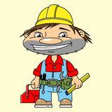 Happy builder. In a yellow helmet and a box for instruments in the hand Royalty Free Stock Image