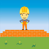 Happy builder at construction site. Vector Royalty Free Stock Image