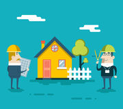 Happy Builder Designer Engineer Foreman Characters Royalty Free Stock Images