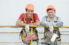 Happy builder facade painters Royalty Free Stock Photography