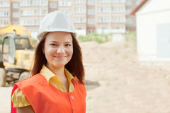 Happy builder in hardhat Stock Photos