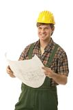 Happy builder holding floor plan. Happy builder wearing hardhat, holding floor plan, looking at camera. Isolated on white stock photos