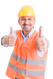 Happy builder showing thumbsup Royalty Free Stock Photo