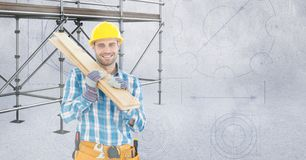 Happy builder with wood in front of 3D scaffolding Stock Photos