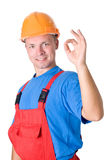 Happy builder worker isolated Royalty Free Stock Photo