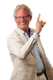 Happy buisness man pointing up Royalty Free Stock Image