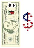 Happy buks with colored dollar sign. Happy one hundred dollar with dollar sign with USA flag on it stock illustration