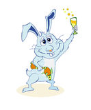 Happy Bunny. With a glass of champagne in the Royalty Free Stock Photography
