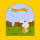 Happy bunny with carrot. Funny card with rabbit carrot and graphic style Stock Images