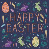 Happy bunny easter with egg, rabbit, carrot royalty free illustration