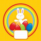 Happy bunny easter symbol. With rainbow and colored eggs- illustration Stock Images