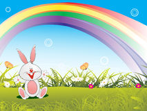 Happy bunny in the garden illustration Royalty Free Stock Photo