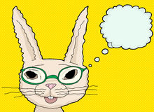 Happy Bunny in Green Glasses Stock Images