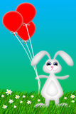 Happy Bunny. Illustration of a happy bunny holding red balloons Vector Illustration