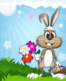 Happy bunny in the meadow Stock Image