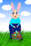 Happy bunny take easter eggs Stock Photography