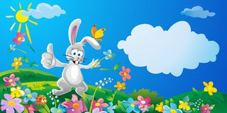 Happy bunny throwing flowers. Nature field with green grass. Flowers at meadow and water drops dew on green leaves. Summer sunny landscape. Vector flat Stock Photo