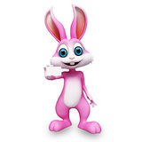 Happy bunny with visiting card Royalty Free Stock Photos
