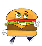 Happy burger cartoon Stock Image