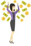 Happy busiess woman under money rain. Stock Photo