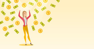 Happy busiess woman under money rain. Royalty Free Stock Photo