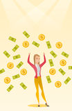 Happy busiess woman under money rain. Royalty Free Stock Photos