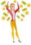 Happy busiess woman under money rain. Royalty Free Stock Photography