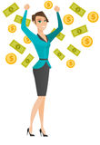 Happy busiess woman under money rain. Royalty Free Stock Images