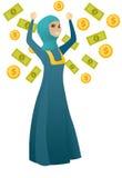Happy busiess woman under money rain. Royalty Free Stock Image