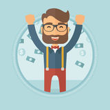 Happy busiessman under money rain. Happy young caucasian hipster businessman with beard standing with raised hands under flying money. Concept of business Royalty Free Stock Images