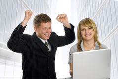 Happy business. Two young business peoples rejoicing for successful business Royalty Free Stock Images