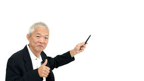 Happy business asian man manager success happy presenting on whi Royalty Free Stock Photos