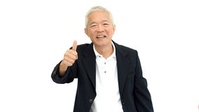 Happy business asian man manager success thumb up on white isola Royalty Free Stock Images