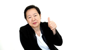 Happy business asian woman manager success thumb up on white iso Stock Photo